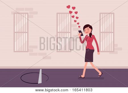 Young carefree woman walking down the street, looking at the screen of her phone unseen a pit in front, distracted pedestrian, accident casued by mobile device, addicted mobile user, sending likes