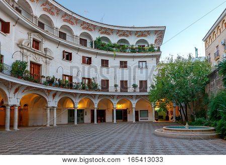 Cabildo Square Plaza del Cabildo traditional patio area in the center of Seville. Spain. Andalusia.
