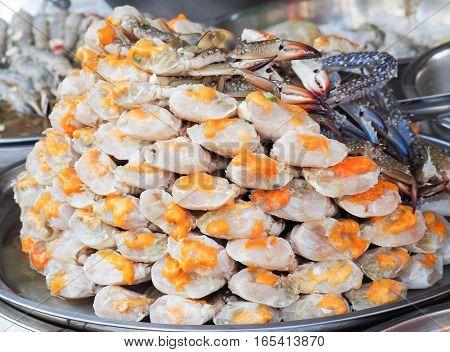 Egg horse crabs in seafood market, Bangkok, Thailand