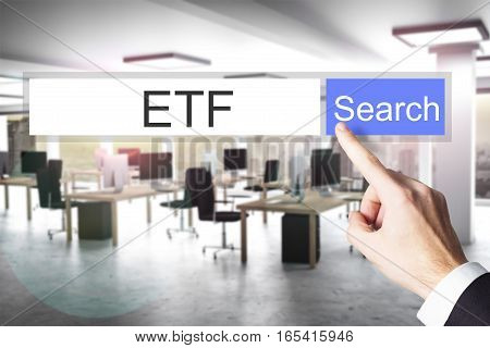 websearch etf blue search button modern office 3D Illustration