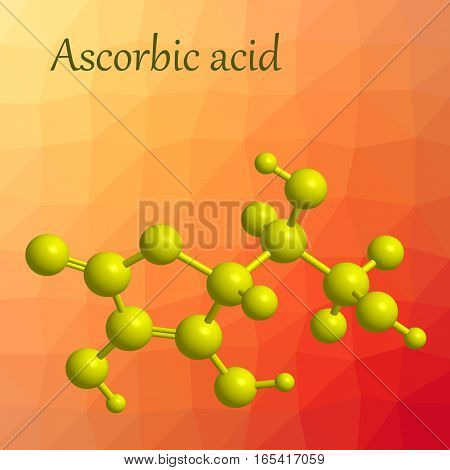 Molecular structure of ascorbic acid (vitamin C) - yellow molecule on orange background 3D rendering