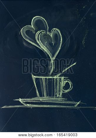Morning Coffee. Cup With Steam In Form Of Hearts. Sketch