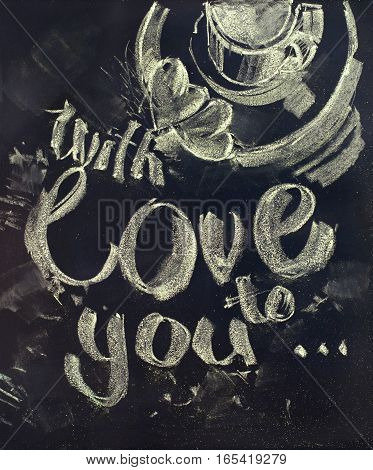 Morning Coffee With Message Love To You. Illustration