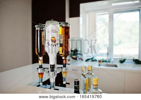 Hai, Ukraine - January 5, 2017: Malibu Is A Brand Of Rum, Flavored With Liqueur, Possessing An Alcoh