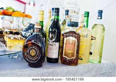 Hai, Ukraine - January 5, 2017: Different Bottles On Bar Reception
