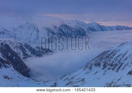 before sunrise in the Fagaras Mountains Romania