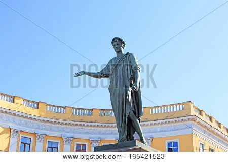 The first monument in the city of Odessa, Ukraine. Monument to Duke de Richelieu in Odessa opened in 1828