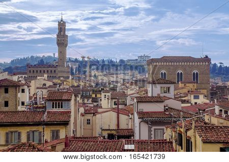 cityscape and the Palazzo Vecchio in Florence Italy.