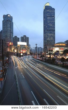View of shanghai business district from Esplanade bridge