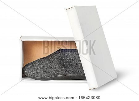Single slipper in white cardboard box with lid isolated on white background