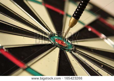 Bulls eye on dart board, close up