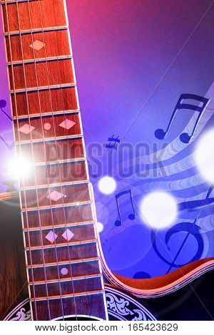 Illustration Acoustic Guitar With Red And Blue Lights Vertical
