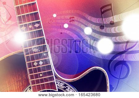 Illustration Acoustic Guitar With Red And Blue Lights Horizontal