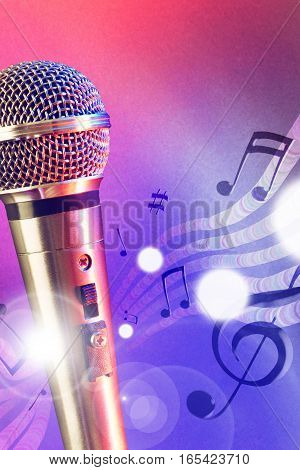 Illustration Microphone With Red And Blue Lights Vertical