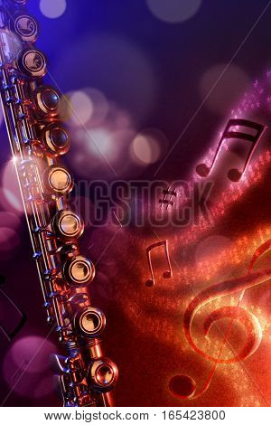 Illustration Transverse Flute With Black Red And Blue Background Vertical