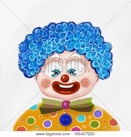 Child disguised as a clown illustration on white background