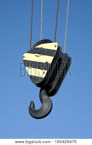 Hook on a crane in the port of Magdeburg