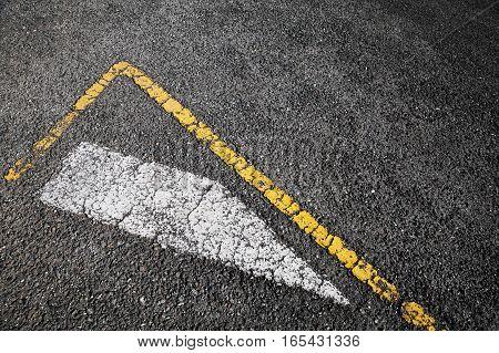Road Marking, White Stripe And Corner