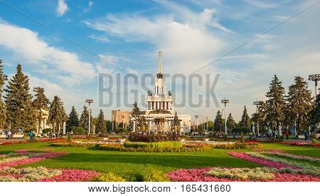 Exhibition of Economic Achievements (ENEA) Exhibition Complex in Moscow. ENEA territory rich in various architectural monuments, many of which are known throughout world. Russia, Moscow. September 21, 2015