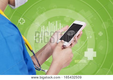 Female Nurse Using Pink Mobile Dark Screen Over Abstract Green Color White Hospital Icon Background.