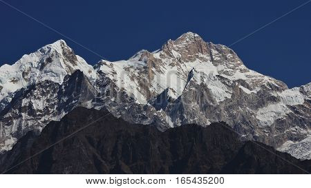 Mount Manaslu high mountain of the Himalayas Nepal.
