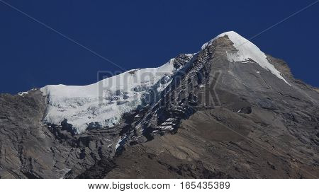 Pisang Peak mountain in the Annapurna Conservation Area Nepal. Glacier.