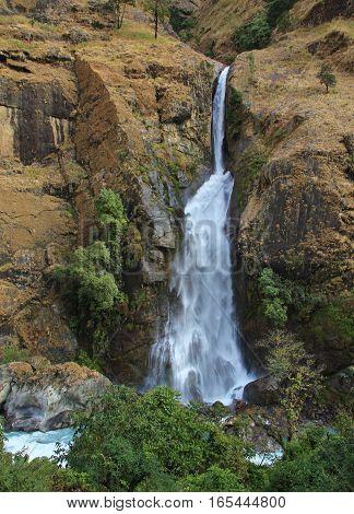 Waterfall near Jagat Annapurna Conservation Area Nepal.