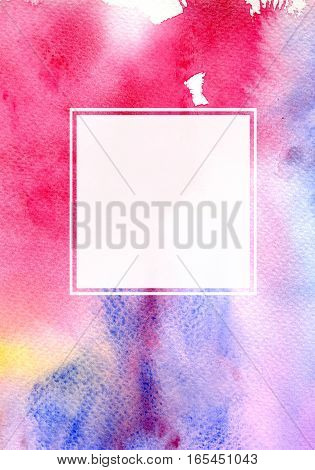 Hand drawn watercolor background with white square frame. Abstract modern template for greeting card or invitation design with watercolor splash.