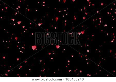 Valentine Day Red Hearts Shape Rise Like Frizz Champagne Bubbles Movement On Black Background With A
