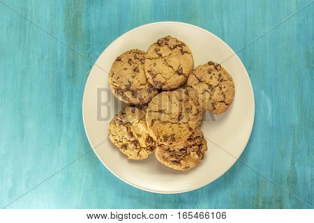A photo of a plate of freshly baked chocolate chips cookies, shot from above on a vibrant blue background with copyspace
