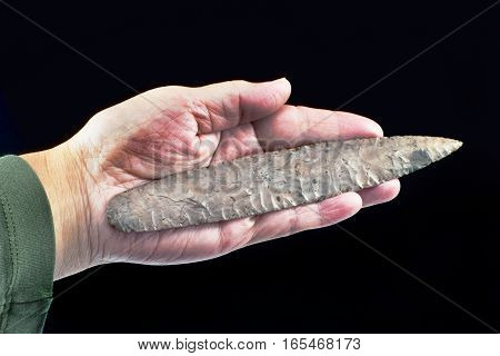 Real Lerma blade or spearhead found near Mount Home Arkansas made 3ooo to 6000 years ago.Blade is eight inches long.