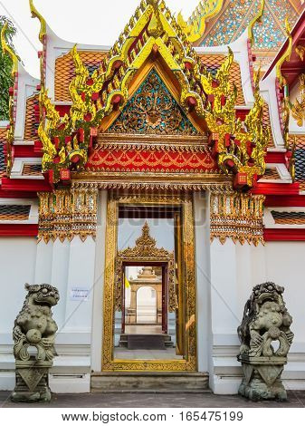 Wat Pho Temple or Temple of the Reclining Buddha. Bangkok, Thailand
