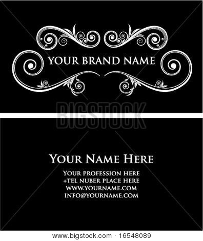 Black vintage business card