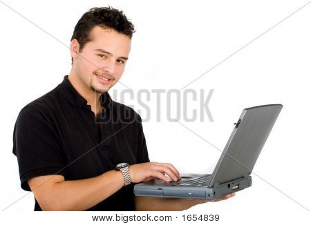 Casual Man With A Laptop
