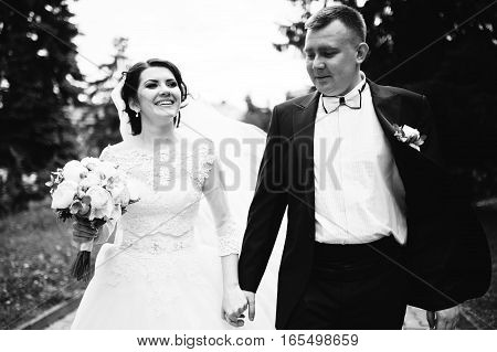 Happy Wedding Couple Walking Holding Hands And Smiling. Black And White Photo
