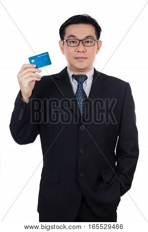 Smart Asian Chinese Man Wearing Suit And Holding Credit Card