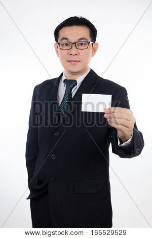 Smart Asian Chinese Man Wearing Suit And Holding Blank Card