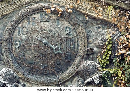 Ancient stone clock face representing forgotten time