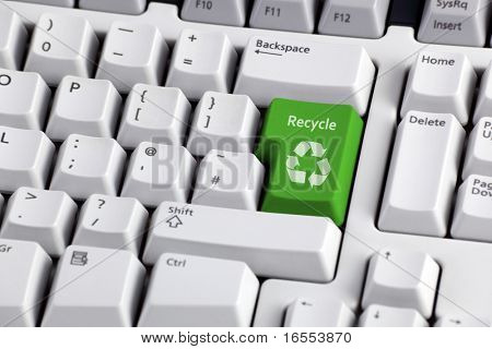Recycling concept - recycle enter key on computer keyboard
