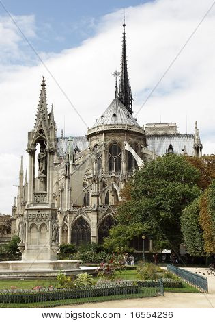 Rear view of the Notre Dame Cathedral, Paris, France