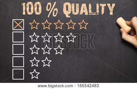 100 Percent Quality Five Golden Stars.chalkboard