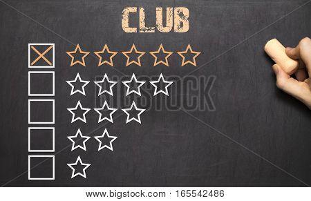 Best Club Five Golden Stars.chalkboard