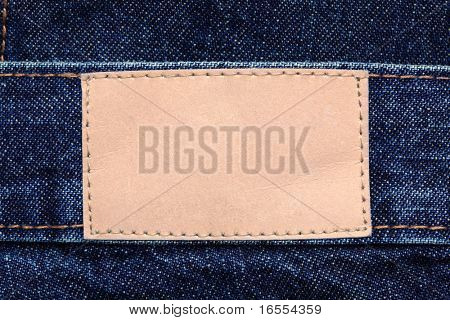 Blank leather denim jeans label to add your own design or text
