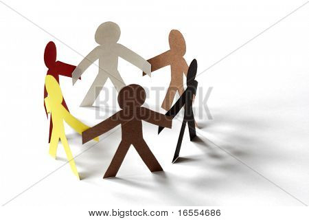 Paper chain cutout people - concept for multiracial group or team