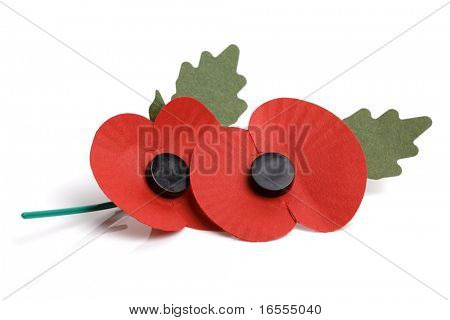 Artificial poppy day appeal isolated on white background