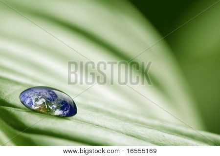 Waterdrop On A Leaf Reflecting Earth Concept For Environmental Conservation Credit To: Http://visibl