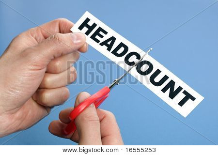 Headcount cutting concept for downsizing, job cuts and unemployment issues