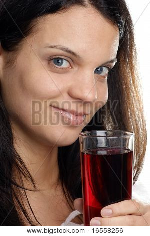 Cherry Juice Is Consumed From A Glass