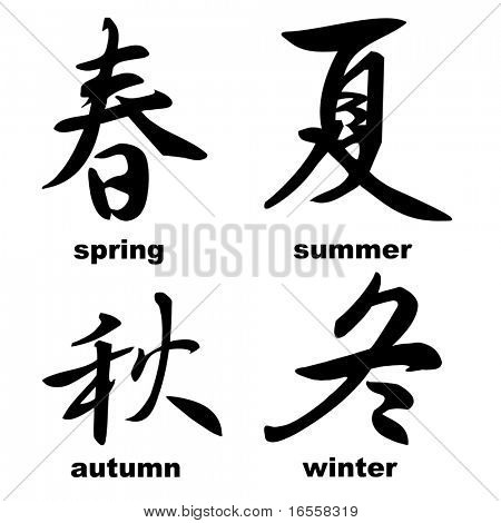 chinese calligraphy: spring, summer, autumn and winter (seasons)