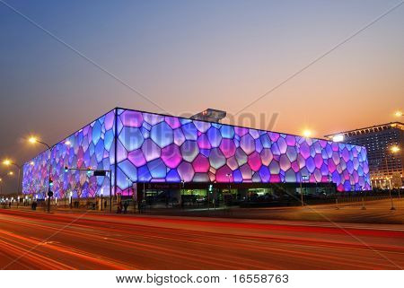 Beijing, China - December 18: Beijing's swimming Olympic Stadium (